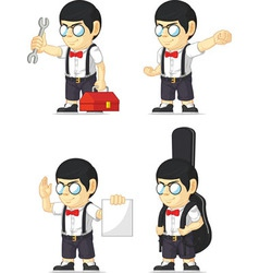 Nerd boy customizable mascot 7 vector
