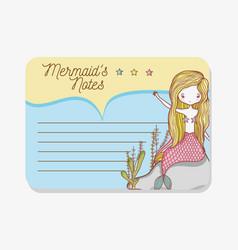 Note with mermaid cartoons vector