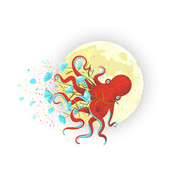Octopus and moon on white vector