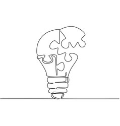 one single line drawing light bulb with pieces vector image