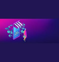 online shopping concept isometric 3d banner header vector image