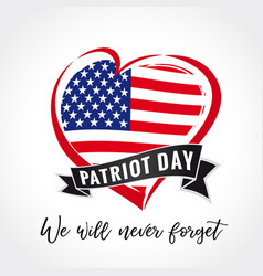 Patriot day usa heart emblem colored vector