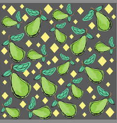 pattern painted green pear and vector image