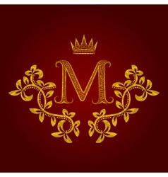 Patterned golden letter M monogram in vintage vector
