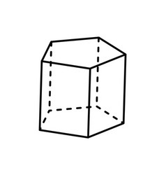Pentagonal prism geometric figure of black color vector