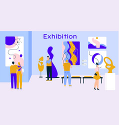 People visitors at exhibition contemporary art vector