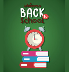 Pile textbook and alarm clock back to school vector