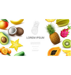 realistic tropical exotic fruits concept vector image