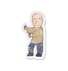 Retro distressed sticker of a cartoon tough man vector