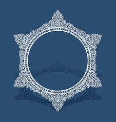 round lace frame with cutout border pattern vector image