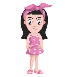 sad girl with pink ribbon on white background vector image