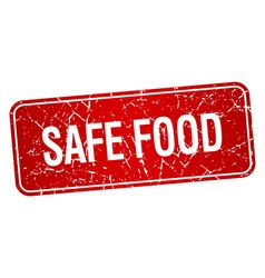 Safe food red square grunge textured isolated vector