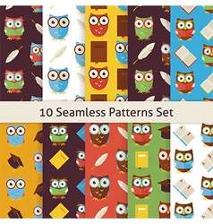 School and Education Owls Flat Seamless Background vector image