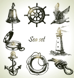 Sea set of nautical design elements vector