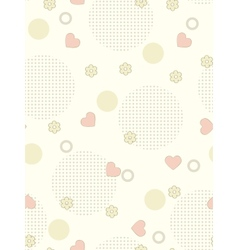 Seamless background with flowers and hearths vector
