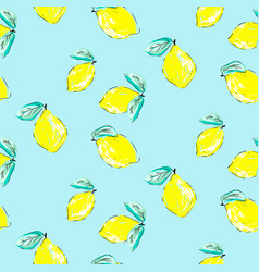 Seamless citrus pattern hand drawn sketched vector