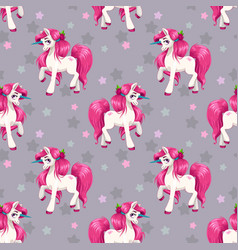 seamless pattern with cute cartoon fairy unicorns vector image