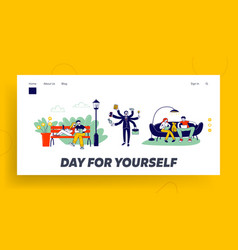 Self-employment and multitasking website landing vector