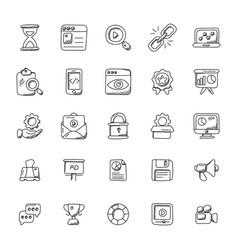 Seo and marketing doodle icons vector