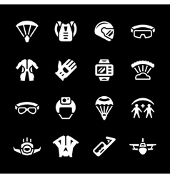 Set icons of parachute vector