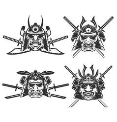 Set samurai mask with crossed swords vector