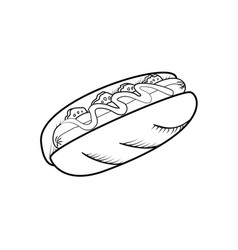Sketch hot dog vector