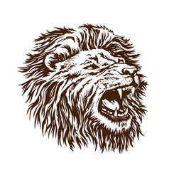 sketch lion head grin open mouth beast is vector image