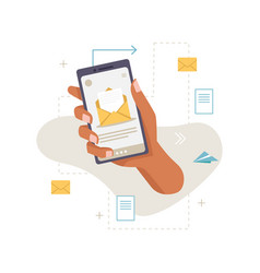 smartphone in hand business letter message sms vector image