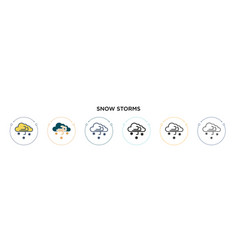 snow storms icon in filled thin line outline and vector image