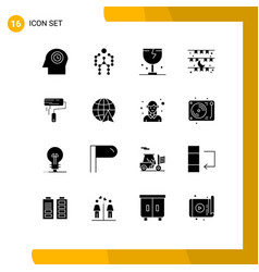 Solid glyph pack 16 universal symbols eid vector
