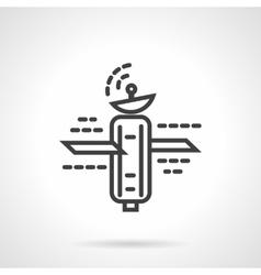 Space satellite simple line icon vector image