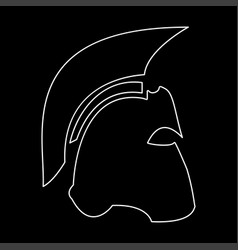 Spartan helmet the white path icon vector