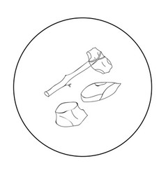 stone tools icon in outline style isolated on vector image