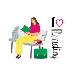 student girl reading books vector image