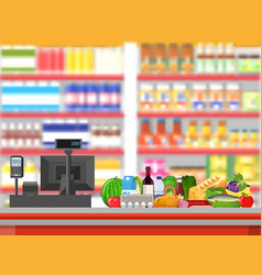 supermarket interior cashier counter workplace vector image