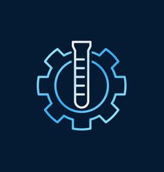 Test-tube with cogwheel outline colorful icon vector