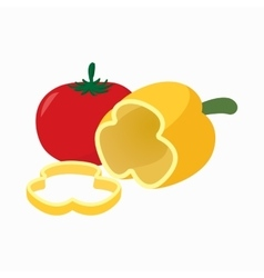 Tomato and pepper icon cartoon style vector image
