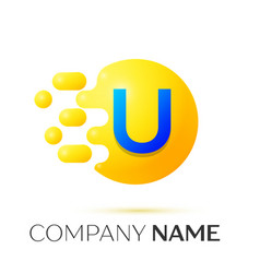 u letter splash yellow dots and circle bubble vector image