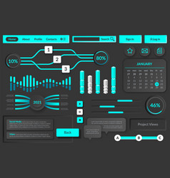 user interface elements futuristic virtual vector image
