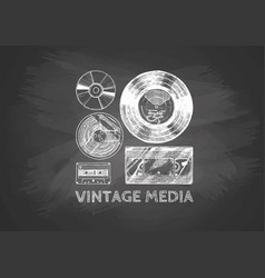 Vintage media on chalkboard vector