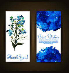 Watercolor floral greeting card vector