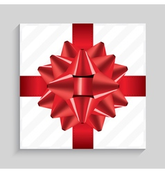 White Square Gift Box with Red Bow vector image