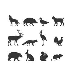 Wild animals black silhouette and wild animal vector