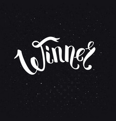 Winner text in ribbon style font over black vector