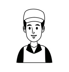 Worker portrait of delivery man with cap vector