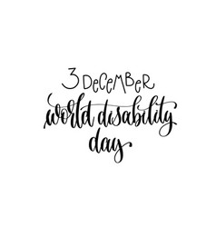 World disability day hand lettering congratulation vector