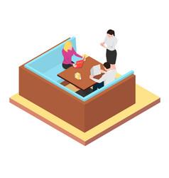 young couple look at the menu and make an order vector image