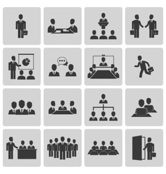 Business meeting and conference icons set vector image vector image