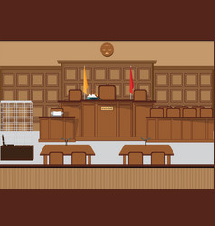 court of law hall with wooden furniture vector image vector image