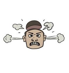Furious face doodle vector